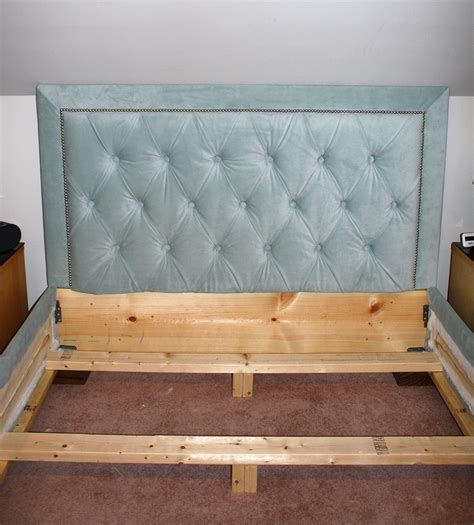 Headboard And Frame White Tufted Headboard With Nailhead Trim And Matching Bed Frame Diy Projects