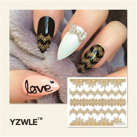 Gold Nail Sticker Decorations aliexpress buy yzwle 1 sheet gold 3d nail stickers diy nail decorations decals