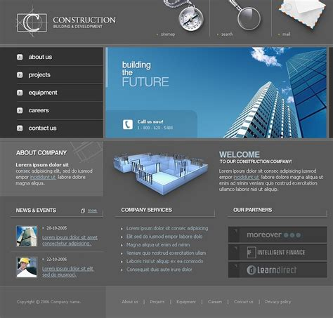 templates for construction website construction company website template 10249