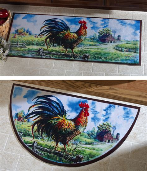 Rooster Runner Rug Farmyard Rooster Kitchen Runner Rug Flue Covers