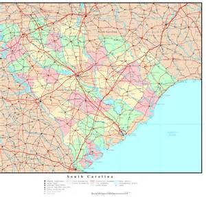 carolina state map with cities south carolina political map