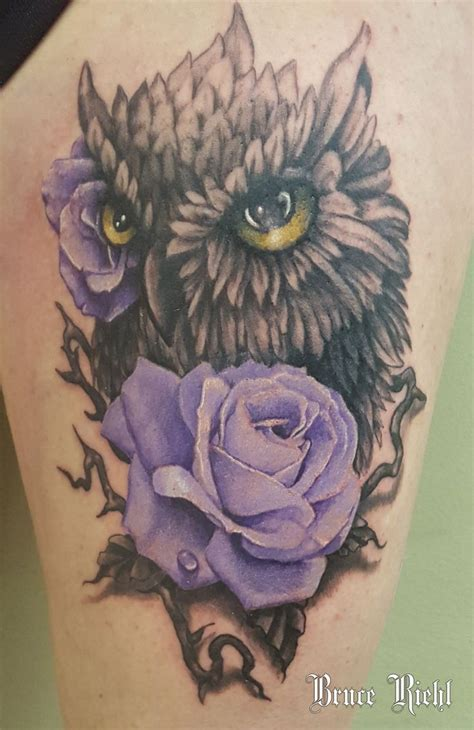 owl and rose tattoo 35 best tattoos by bruce riehl images on