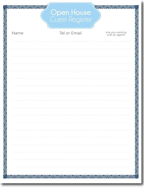 Open House Guest Register Template