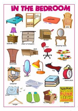 objects in the bedroom 20 free esl bedroom furniture worksheets