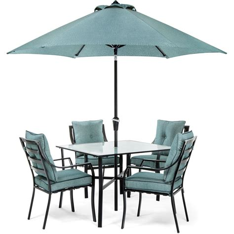 Hanover Lavallette Black Steel Piece Outdoor Dining Set