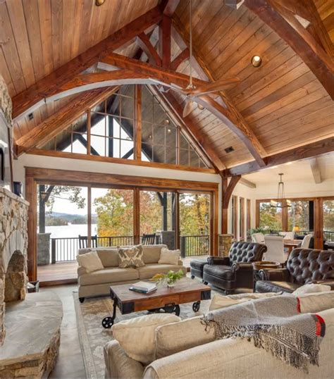 interior truss gallery exposed wood beams heavy timber