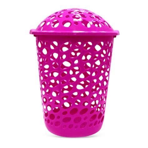 Buy Plastic Laundry Basket With Lid Purple توصيل Taw9eel Com Plastic Laundry With Lid