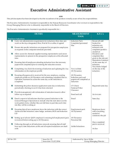 administrative assistant description description executive administrative assistant