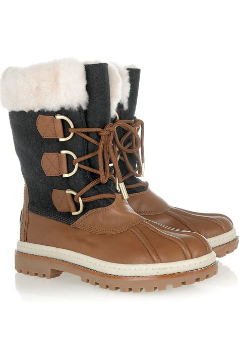 leather and shearling duck boots by burch 2018