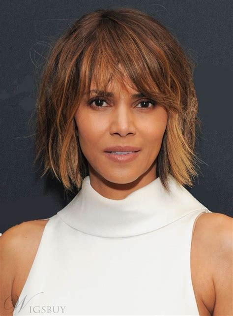 cutting back of halle berry wig halle berry messy blunt cut lob mixed color short straight
