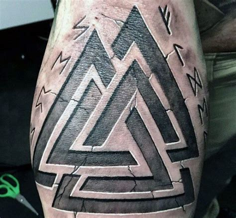 runic lettering tattoo triangle stone viking runes tattoos for men on arm