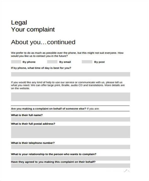 Sle Legal Complaint Forms 7 Free Documents In Word Pdf Lawsuit Complaint Template