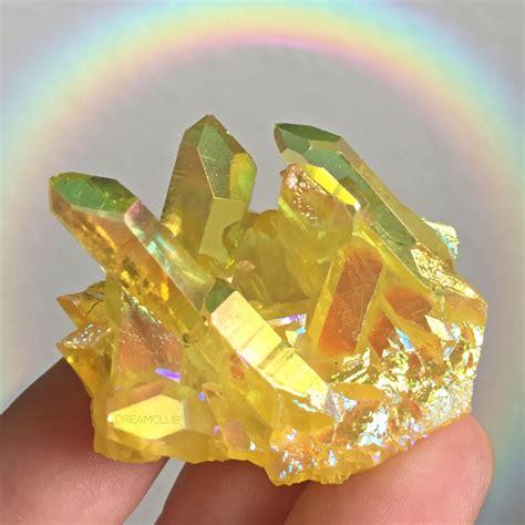Yellow Quartz canary yellow magic aura quartz cluster