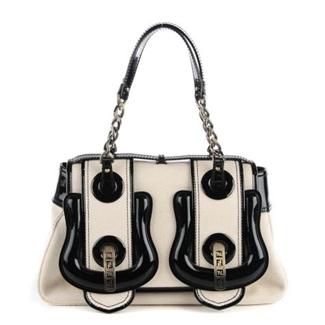 Fendi Patent B Bag Is Oh So by Fendi Toile Vernice Patent B Bag Black White 115294
