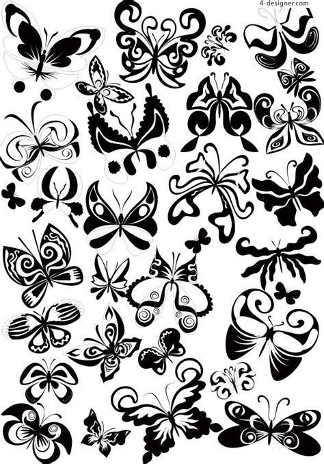 black and white butterfly pattern 4 designer black and white butterfly pattern vector material