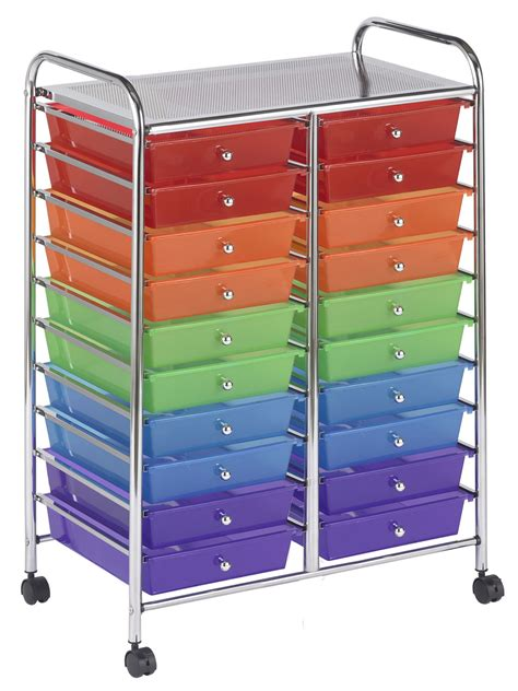 Mobile Drawer Cart by Ecr4kids 20 Drawer Mobile Storage Organizer Cart Assorted