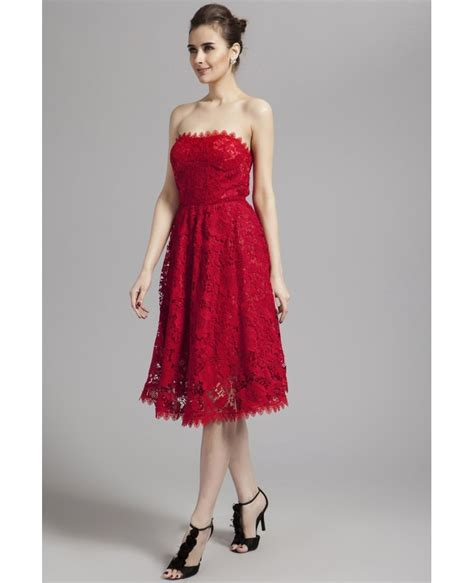 Special Discount Last Stock Only Baju Pesta Wedding strapless lace ankle length dress dk79 96 gemgrace