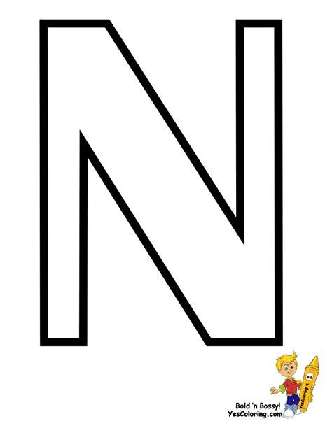 Letter N free coloring pages of letters n
