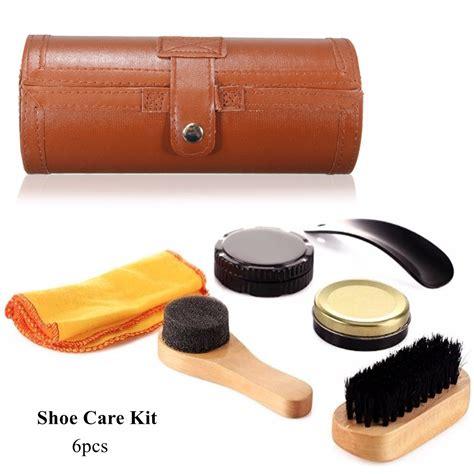 6pcs set cleaning shoes care kit leatherette barrel