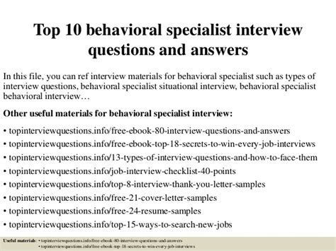 Food Service Worker Resume Sample by Top 10 Behavioral Specialist Interview Questions And Answers