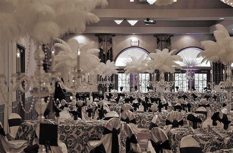 Black and white damask wedding decor with crystal