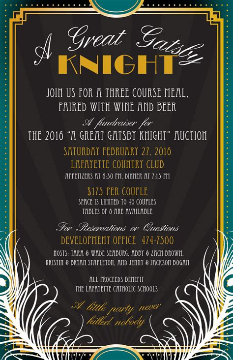 great gatsby dinner menu last chance to register for a great gatsby dinner