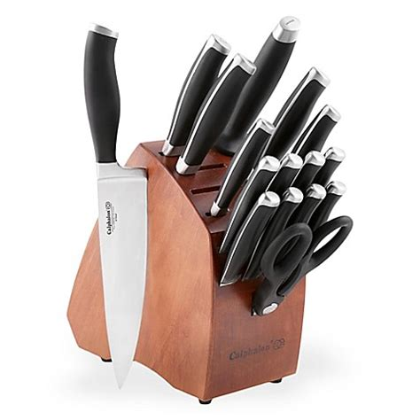 kitchen knives block calphalon 174 contemporary 17 knife block set bed bath beyond