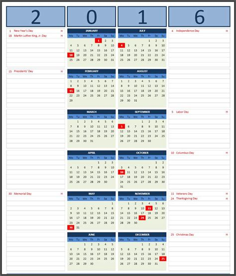What Calendar Is The Same As 2016 2016 Calendars Excel Calendars