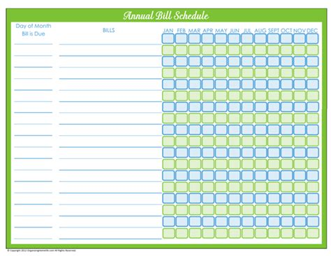 bill payment schedule editable version organizing homelife