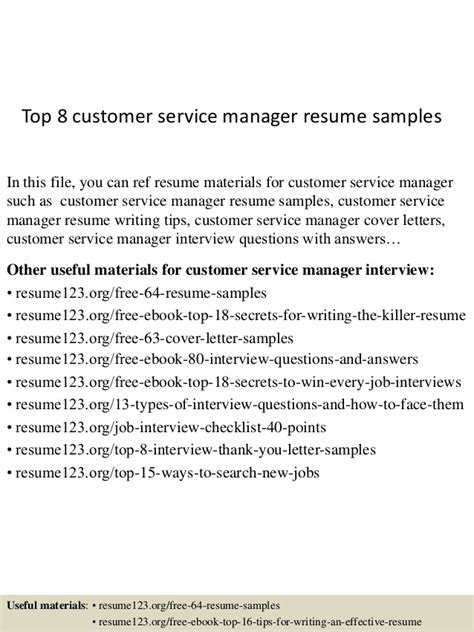 Customer Service Manager Cover Letter Uk Top 8 Customer Service Manager Resume Sles