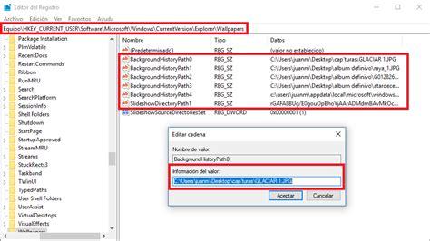 escritorio no disponible windows 10 como borrar el historial de fondos de escritorio en