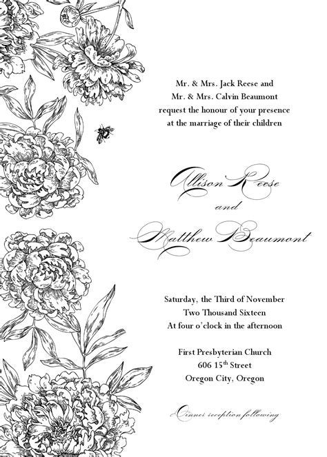 formal wedding invitation template formal wedding invitation