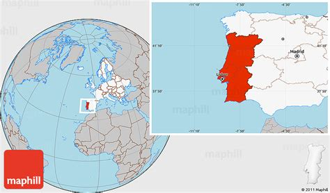 where is portugal located on the world map gray location map of portugal highlighted continent