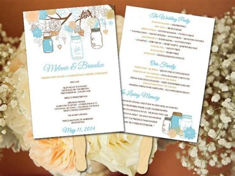 wedding program fans diy template diy wedding fan program template jar wedding fan