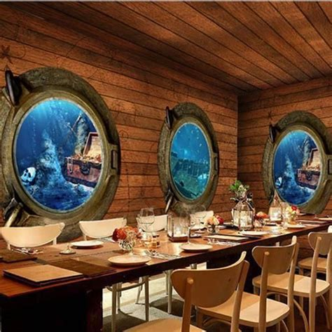 retro pirate theme ship portholes wood mural wallpaper