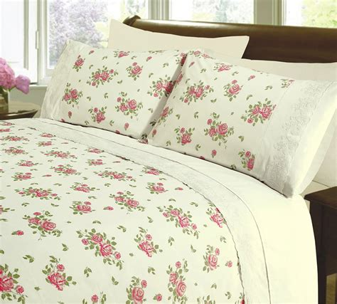 Care Bedding by Embroidered Soft Touch Easy Care Vintage Floral Lace
