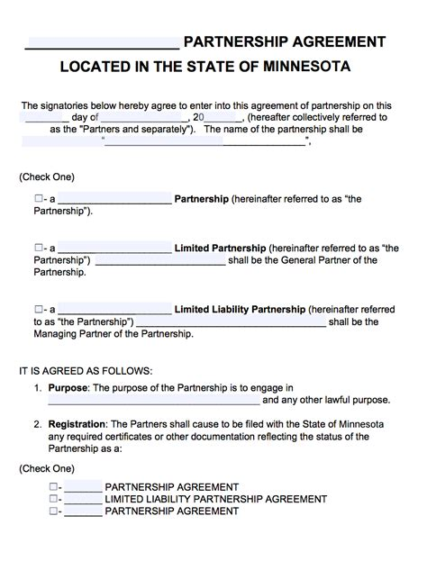 Agreement Partnership Agreement Form Physician Partnership Agreement Template