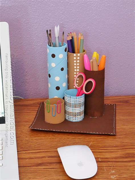 recycling craft projects recycled cardboard desk caddy crafts by amanda
