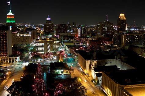 View Of San Antonio City Texas At Night With Christmas Lights Downtown San Antonio