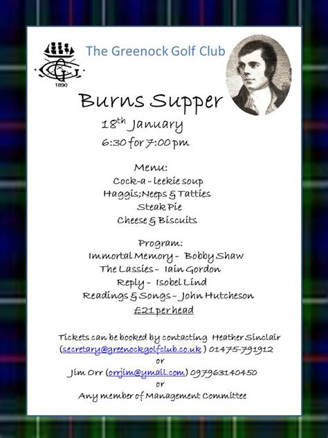 burns supper menu template index of docs