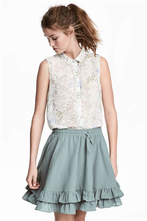 Hm Chiffon Sleeveless Blouse White Small Floral sleeveless blouse white floral sale h m us