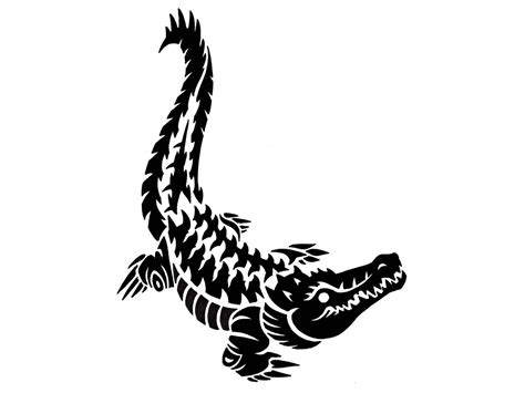 black tribal contour of crocodile design ideas