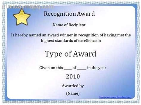 Certificate Template Word Holidaymapq Com Microsoft Word Award Template