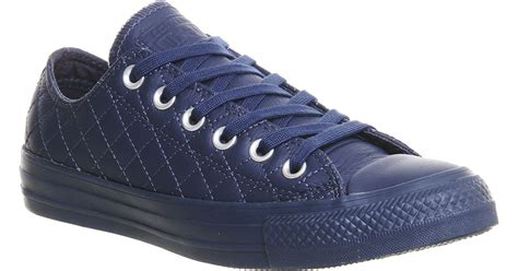 Low Leather by Converse All Low Leather Trainers In Blue Lyst