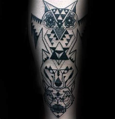 geometric wolf tattoo crazy owl face and geometric wolf of