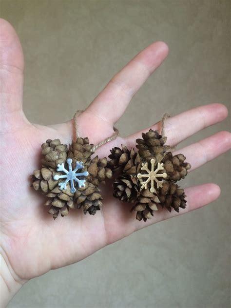 pine cone ornaments mini snowflake pine cone ornament gold or silver