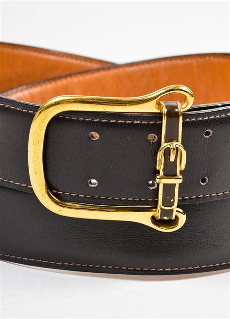 s hermes brown leather gold toned buckle belt luxury