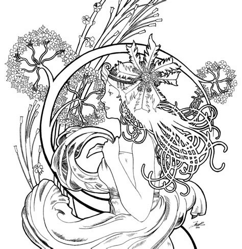 art nouveau coloring page art nouveau girl inspiration the human form