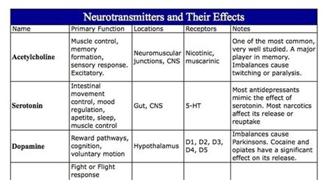 Neurotransmitters Also Search For Neurotransmitters And Their Effects Chart Nclex Quiz
