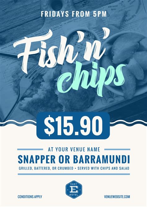 fish and chip shop menu template blue and white fish chips poster with wave graphic
